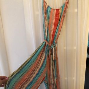 Colorful Striped Strapless Jumpsuit by Surf Gypsy
